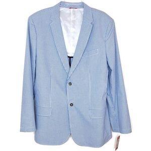 Izod Preppy Blue/White Gingham Sports Coat XL